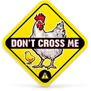 "Chicken Warning Sign Don't Cross Me | 12"" x 12"" Diamond 