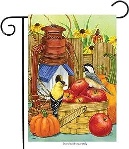"Briarwood Lane Autumn Display Birds Garden Flag Fall Apples Floral 12.5"" x 18"""