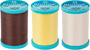 CESDes Bundle of 3 Coats Eloflex Streatch Thread: 225 yds ea Polyester (Brown Yellow Natural)