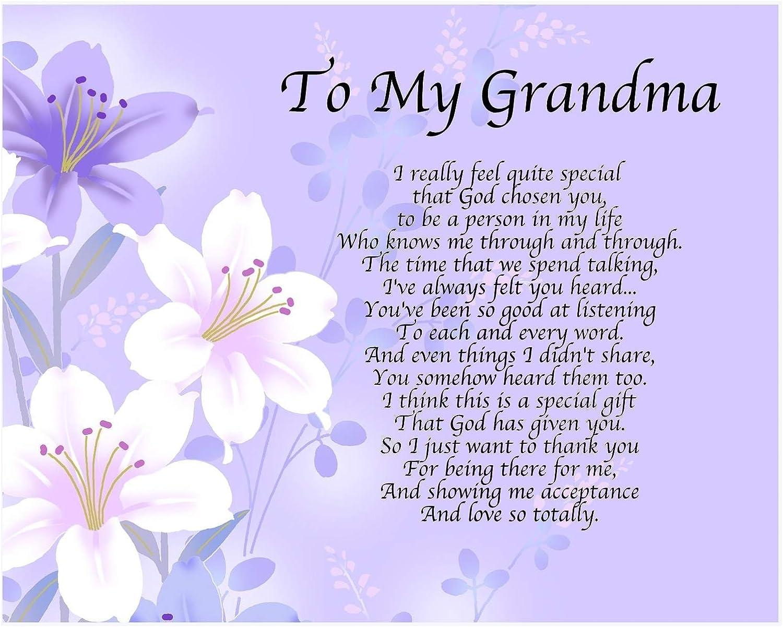 Personnalisé My Grandma poème Fête des Mères Anniversaire Cadeau de Noël