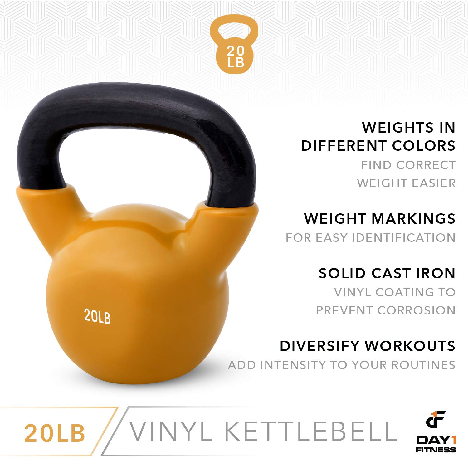 Day 1 Fitness Kettlebell Weights Vinyl Coated Iron 20 Pounds - Coated for Floor and Equipment Protection, Noise Reduction - Free Weights for Ballistic, Core, Weight Training by Day 1 Fitness (Image #5)