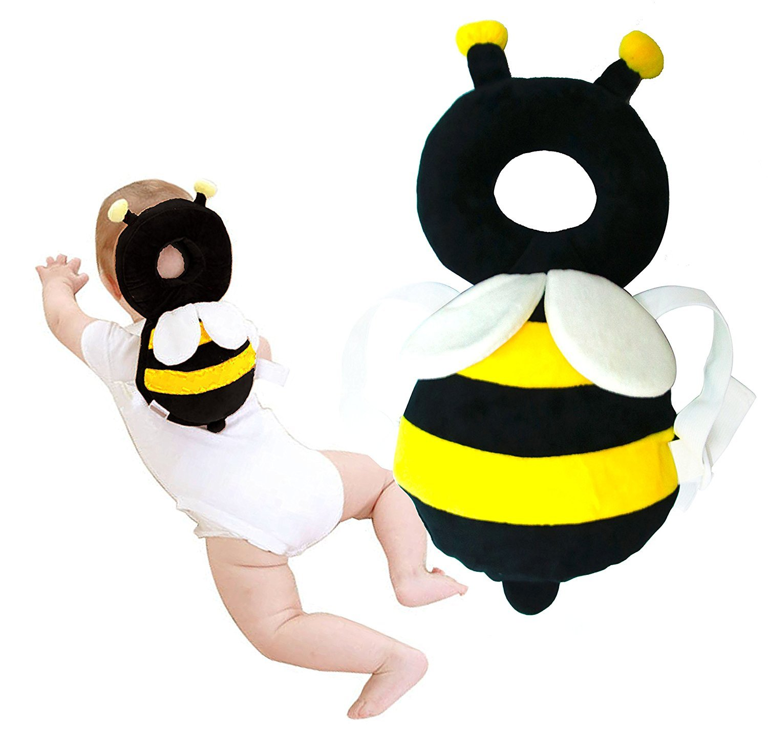 Baby Protector - Baby Adjustable Head Shoulder Safety Pad - Baby Head Cushion with Flexible Strap for Baby walking - for Baby Safety - for Crawling Baby - 4-24 Months Babies (Little Bee) Neyroz