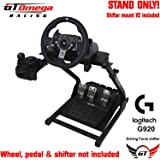 GT Omega Steering Wheel Stand for Logitech G920 Racing Wheel, Pedals & Gear Shifter Mount Set, Xbox One, Fanatec Clubsport, PC PRO V2, Foldable, Tilt-Adjustable Design, Ultimate Sim Racing Experience