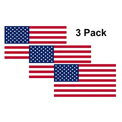 Rogue River Tactical American USA Flag Sticker Patriotic Stars and Stripes United States Auto Car Decal Window Bumper US Military (3 Pack 3x5): Automotive