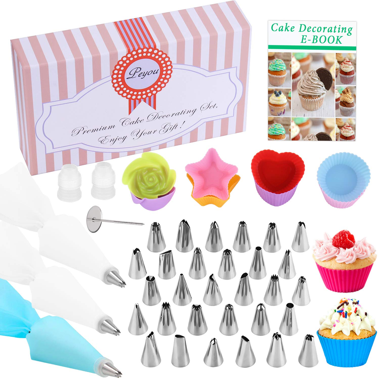 PEYOU Cake Decorating Set 52 Pcs, Cake Decorating Supplies: 30 Stainless Steel Icing Tips, 8 Cupcakes, 10 Disposable Piping Bags, 1 Flower Nail, 1 Silicone Pastry Bag, 2 Couplers for Cakes Cupcakes Baking Cookies Pastries Bonus Exquisite Gift Box+E-Book