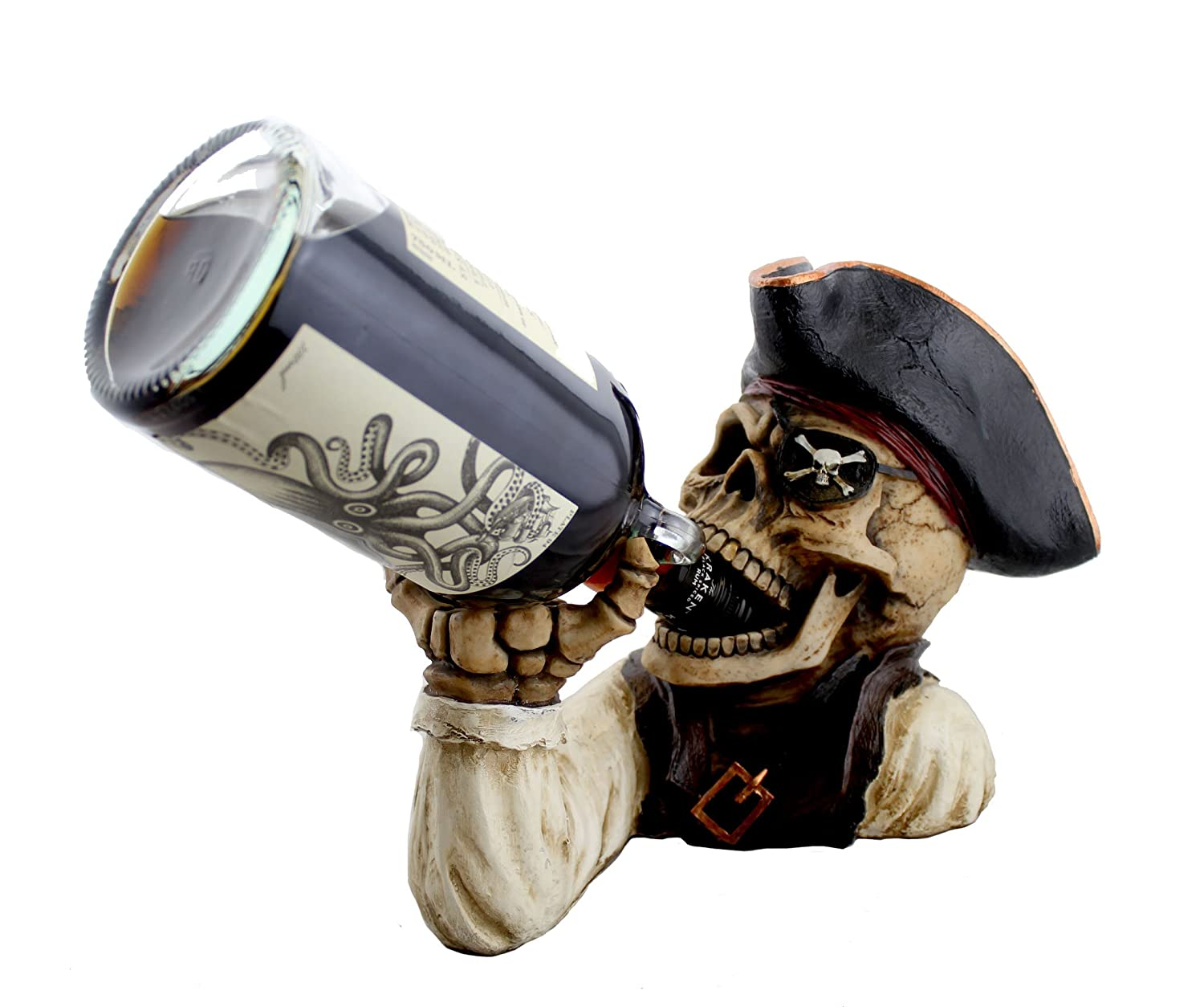 Skeleton Pirate Wine or Rum Bottle Holder By DWK | Whimsical Decorative Pirate Caribbean or Beach Themed Home or Party Gifts and Decor