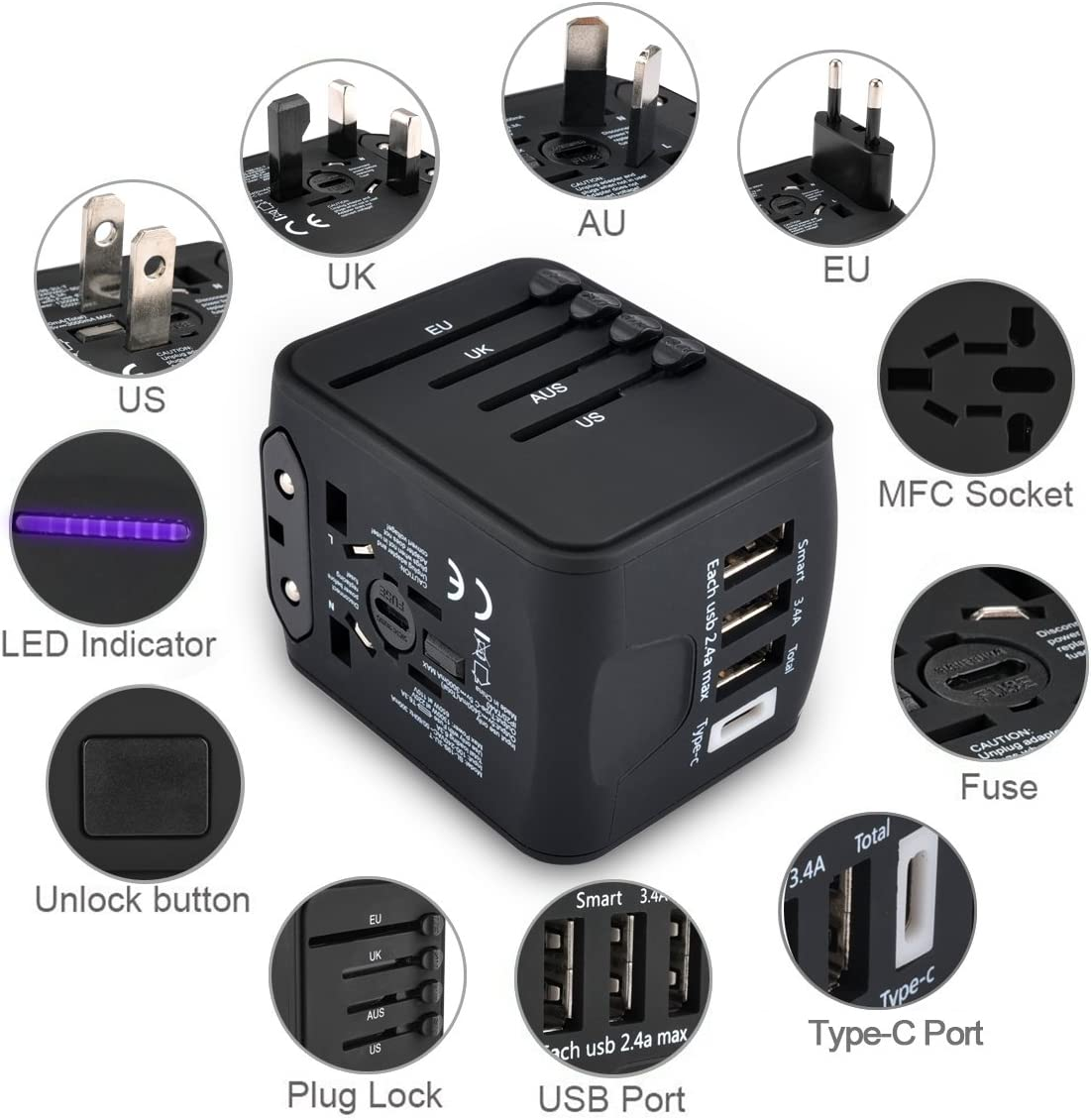 Universal Small Travel Adapter Wall Charger Available for US UK European Asia Covers more than 150 countries International Travel Power Adapter with 3.4A 3 USB and 1 Type-C Charging Ports