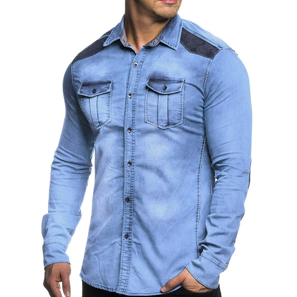 Mens Denim Jacket, Corriee Fall Vintage Button Distressed Demin Coat with Pockets Casual Cotton Cowboy Outwear Tops