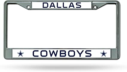 Dallas Cowboys NFL Glitter Bling Chrome Plate Frame /& Cowboys Number One Fan License Plate