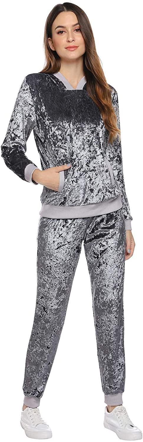 Abollria Womens Hoodie Sets Outfits Pullovers Tracksuit Velour Velvet Jogger Lounge 2 Pieces Set Sportswear Tracksuits