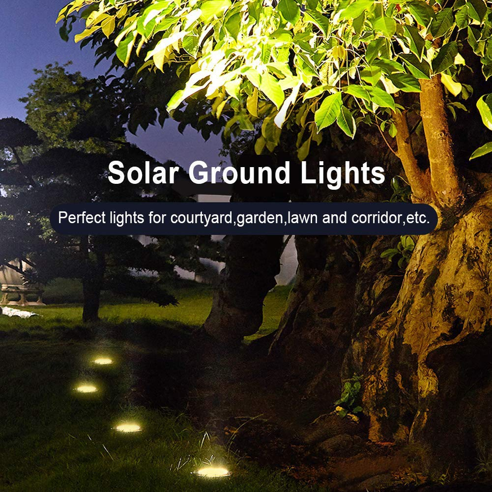 Solar Ground Lights, 8 LED Solar Disk Lights Outdoor Waterproof for Garden Yard Patio Pathway Lawn Driveway Walkway- Warm White (8 Pack) by NICPAY (Image #5)