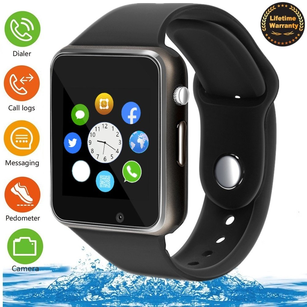 Smart Watch - 321OU Touch Screen Bluetooth Smart Wrist Watch Smartwatch Phone Fitness Tracker SIM SD Card Slot Camera Pedometer iPhone iOS Samsung LG Android Women Men Kids (Black) by 321OU