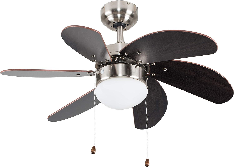 "MiniSun Silver Chrome & Wood 30"" / 76cm Modern 6 Blade Ceiling Fan with Flush Light"