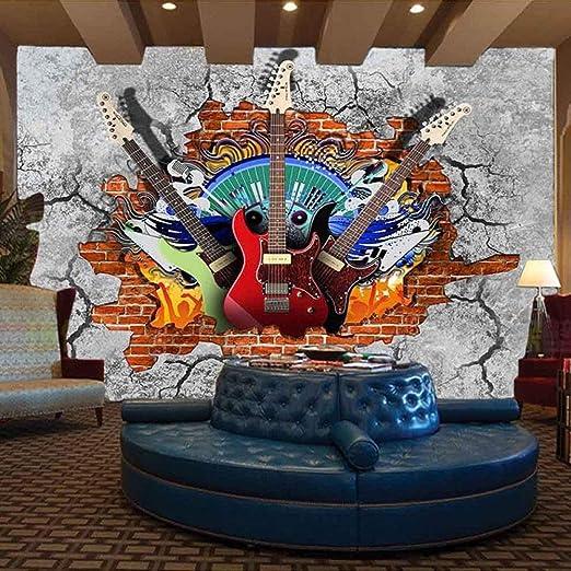 Murales Decorativos Pared 3D Papel Pintado,Guitarra Rock Arte ...