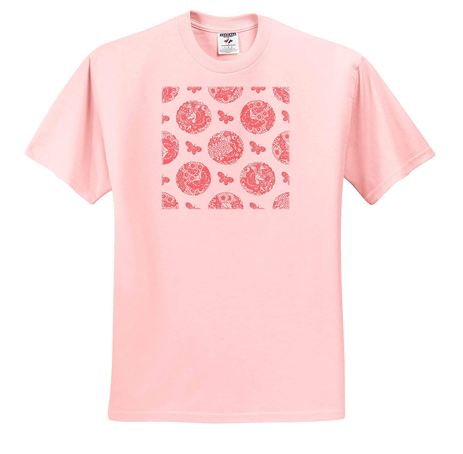 Pretty Pink and White Circular Pattern with Flowers and Butterflies 3dRose Russ Billington Patterns T-Shirts