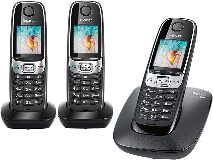 Gigaset C620 Trio - Teléfono fijo analógico, color negro (importado): Amazon.es: Electrónica