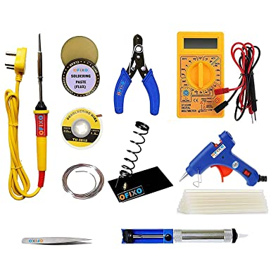 Ofixo 7 In 1 Electric Soldering Kit with 25W Iron and Stand Tool, Wire Cutter Stripper, Tweezer, Desoldering Wire, Soldering Paste And Solder Lead