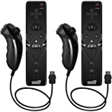 EEEKit 2 Packs Built in Motion Plus and Remote and Nunchuck Controller Set for Nintendo Wii Game Console with Wrist Strap (Black2)
