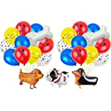Walking animal balloon, pet dog balloon-3 aluminum moor party balloons, 8 latex balloons suitable for animal theme birthday party decorations total 12 pieces multicolor