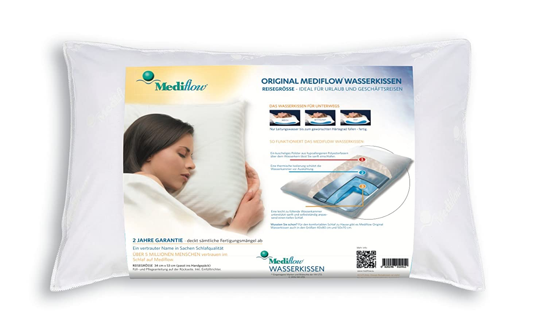 Mediflow 1041 Waterbase Fibrefill Pillow, Travel Size - White 1041_weiß-34x53(S1pz)