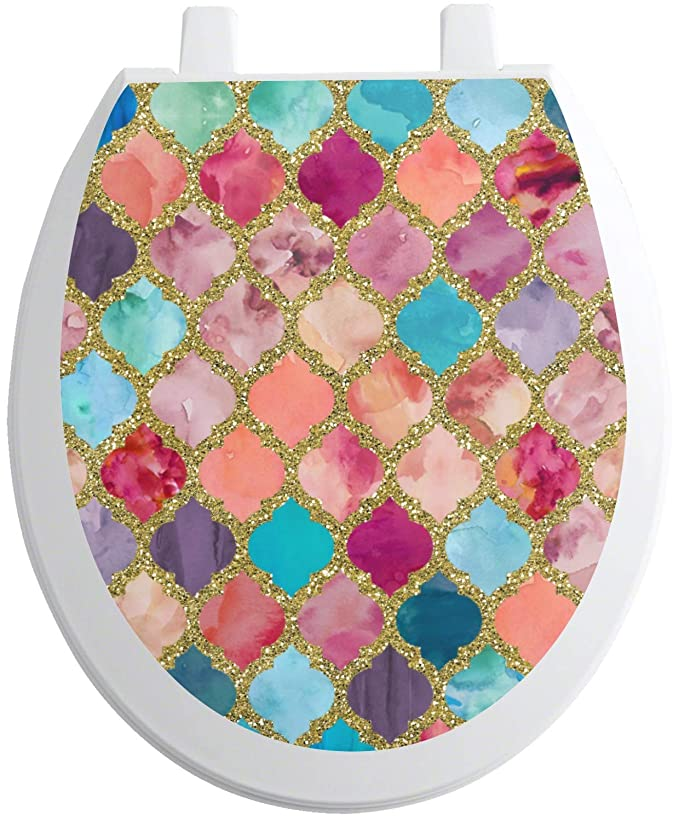 Wondrous Youcustomizeit Glitter Moroccan Watercolor Toilet Seat Decal Caraccident5 Cool Chair Designs And Ideas Caraccident5Info