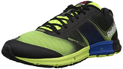 Reebok Men's One Cushion 2.0 Running Shoe, Solar Yellow/Black/Imp Blue/White, 8 M US