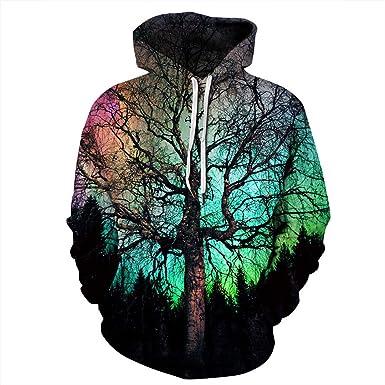 3D Pattern Print Hoodies Big Tree in Colorful Sunset Hoodie Men Women Sweatshirt Couples Tops S