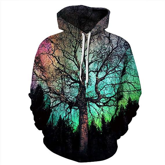 Amazon.com: 3D Pattern Print Hoodies Big Tree in Colorful Sunset Hoodie Men Women Sweatshirt Couples Tops S: Clothing