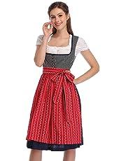 GloryStar Women's Oktoberfest Costume Dirndl Dress Set 3 Pieces