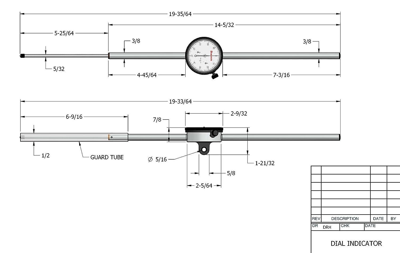 0-100 Reading Long Range 0-5 Range Starrett 25-5041J Dial Indicator 0.375 Stem Diameter 2.25 Dial Diameter Lug-On-Centre Back White Dial 0.001 Graduation
