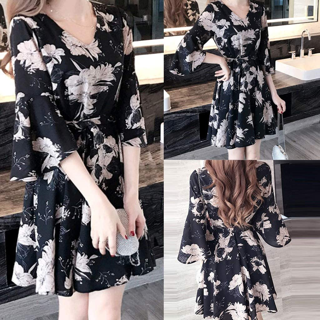 Womens V Neck Floral Print Swing Mini Dress 3//4 Sleeve Casual T Shirt Dresses Summer Beach Dress with Belt