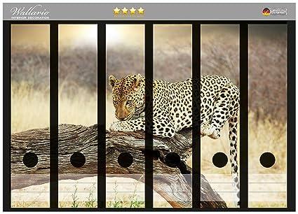 Archivadores Leopard pegatinas en diseño de tronco de árbol en África en CALIDAD - tamaño 36