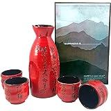 Happy Sales HSSS-PMR06, Japanese Sake Set Calligraphy Red & Black