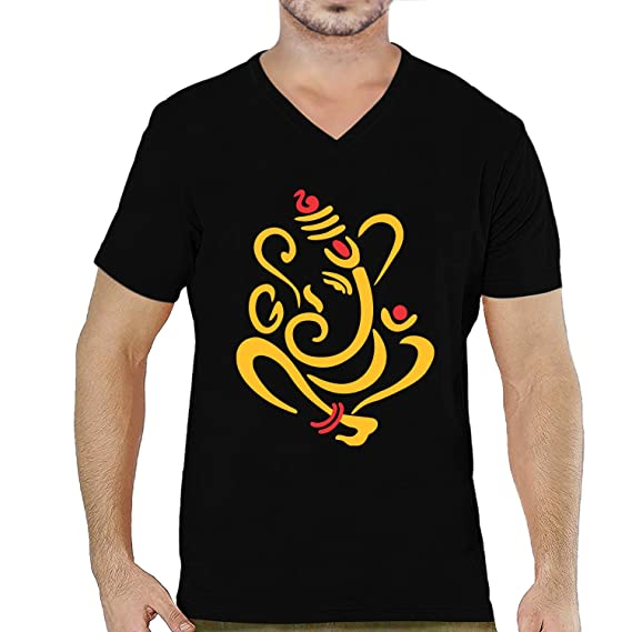 Buy Pooplu Mens Lord Ganesha Cotton Printed V Neck Half Sleeves Black &  White t-Shirt. Hindu God, Ganpati, Ganesh, Bappa, Symbol Tshirts at  Amazon.in