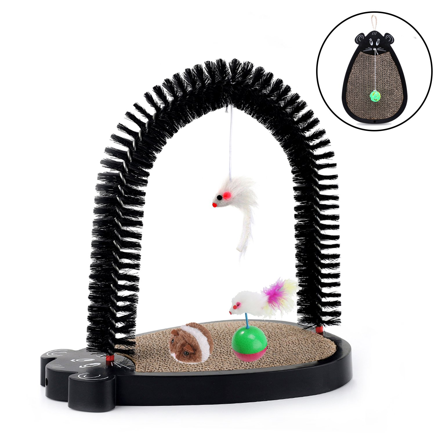 Chengyu Multi-Function Cat Scratch Board Toys Set - Including Hanging Cat Scratch Board with Armpit Arch Self Groomer, Tumbler Toy, Plush Mouse Toy, Spring Bell Ball and Catnip Fish Toy