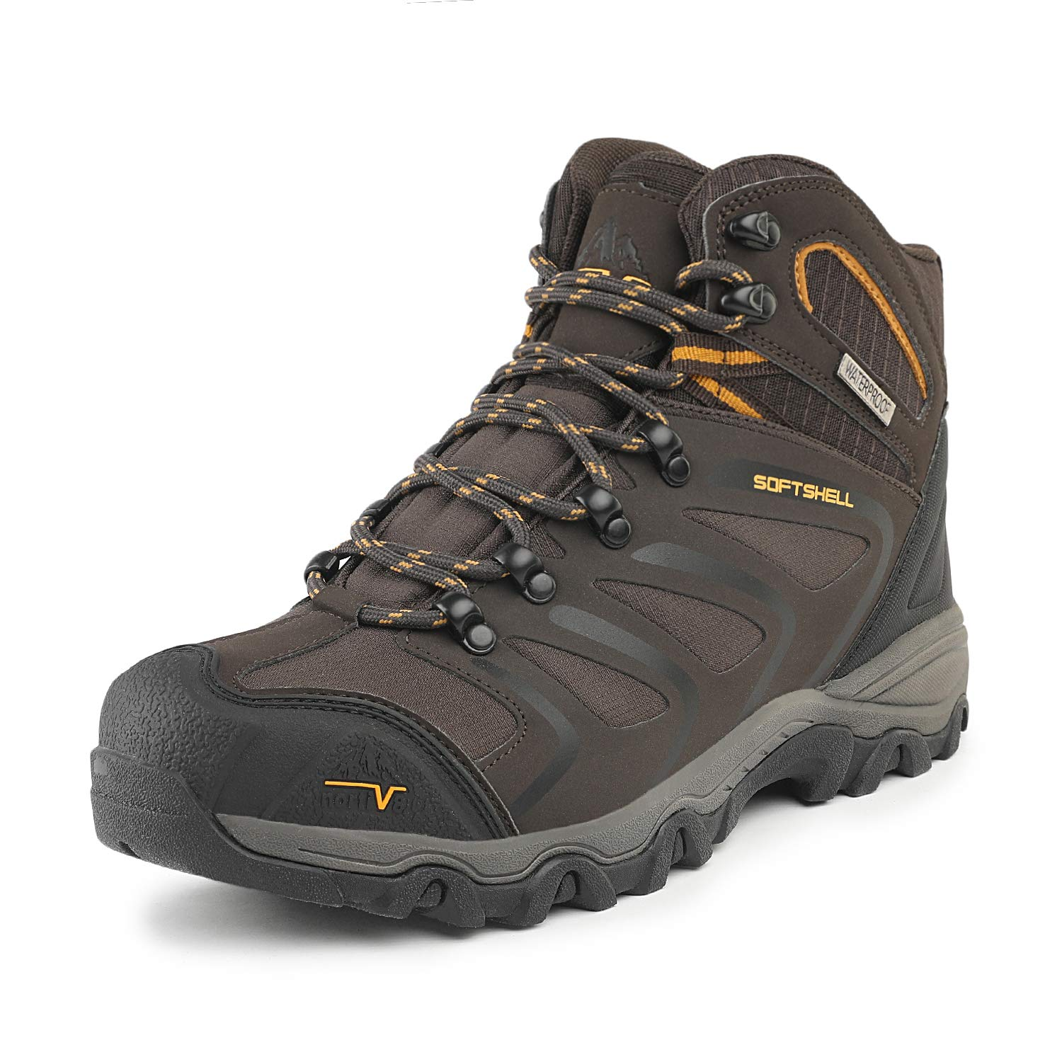 NORTIV 8 Men's 160448 Brown Black Tan Ankle High Waterproof Hiking Boots Outdoor Lightweight Shoes Backpacking Trekking Trails Size 12 M US