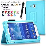 Galaxy Tab 3 Lite 7.0 / Galaxy Tab E Lite 7.0 Case - SHEROX Premium Folio Leather Case for Samsung Galaxy Tab 3 Lite 7.0 / Galaxy Tab E Lite 7.0 Inch Android Tablet + Free stylus touch pen (Sky Blue)