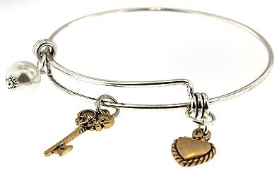 Haute Jewelry Concepts Schlüssel und Herz Charm Memory-Draht Armband ...