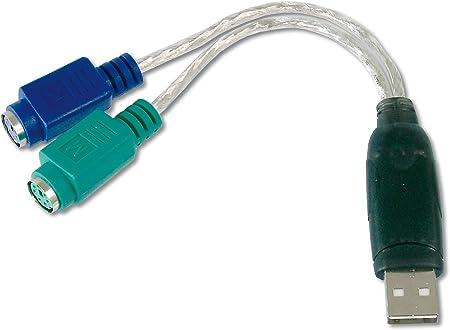 Adaptador DIGITUS USB a PS / 2 - Adaptador de mouse y teclado - Enchufe USB tipo A a 2 tomas Mini-Din 6 - Win 10 - Plug & Play