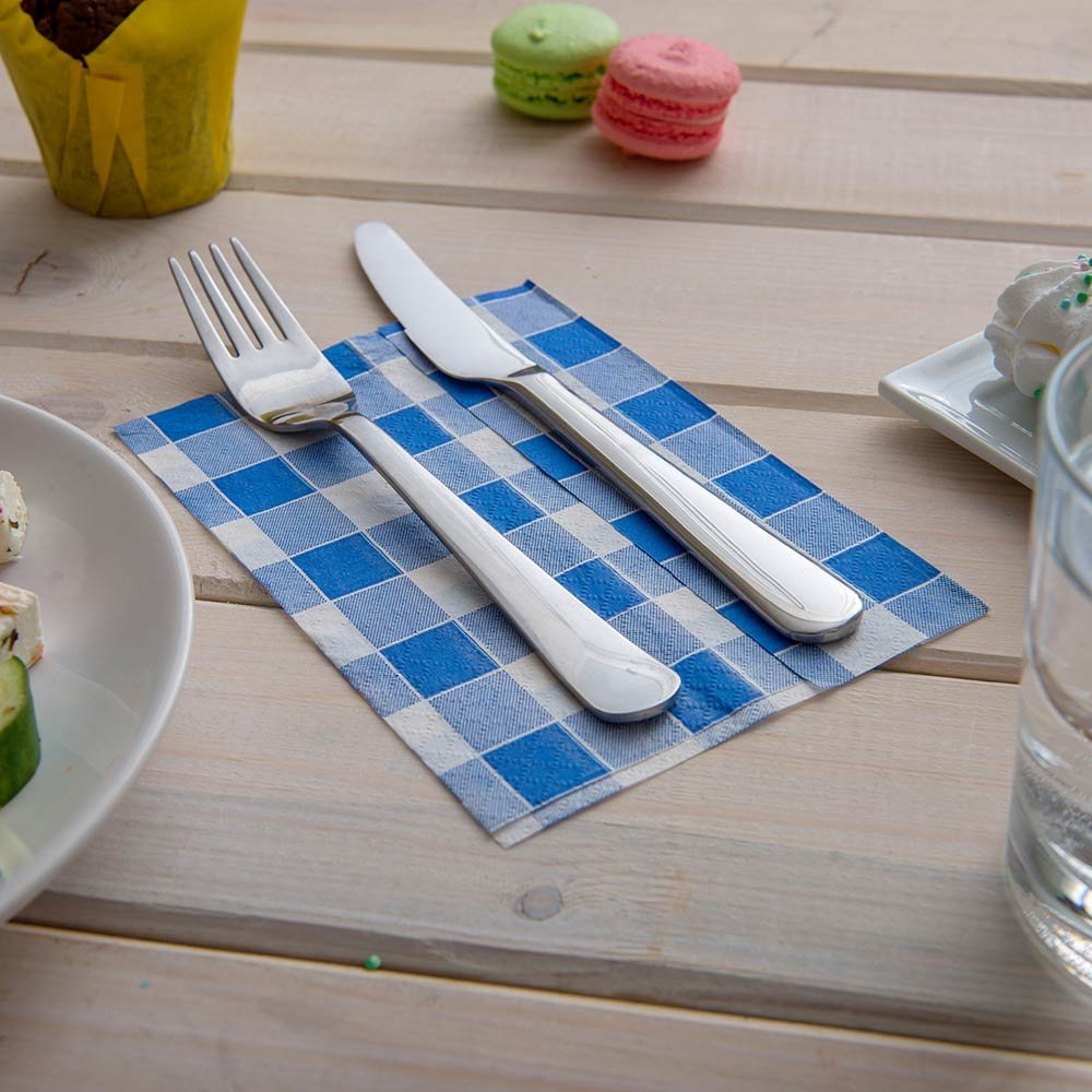 Luxenap 1 Ply Recycled Picnic Print Blue 7x13.5 Inches 7000 count box by Restaurantware (Image #2)