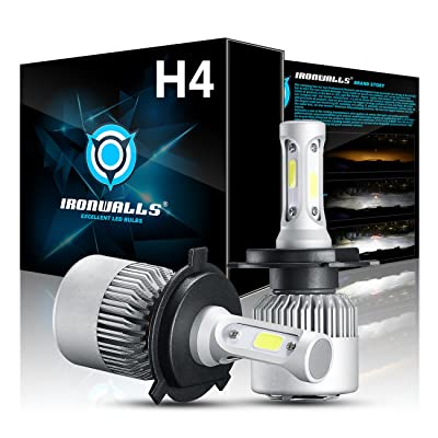 IRONWALLS LED Headlight, F-S2 Series, 2 PACK, H4 HB2 9003 Fog Light Bulbs, All-in-One Conversion Kit, 72W 8000LM 6500K, COB Chips, Super Bright Crystal White, Upgraded,: Automotive