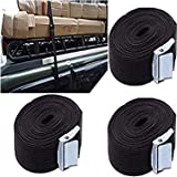 DIY Crafts Car Roof Box Luggage Lashing Strap Roof - Top Tie Downs Rope Buckle Down Straps Roof Top Tie Downs, Moving Appliances Cam Buckle - (Pack of 4) Black