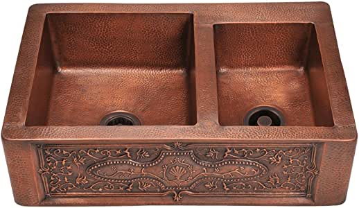 911 Offset Double Bowl Copper Apron Sink, Sink Only