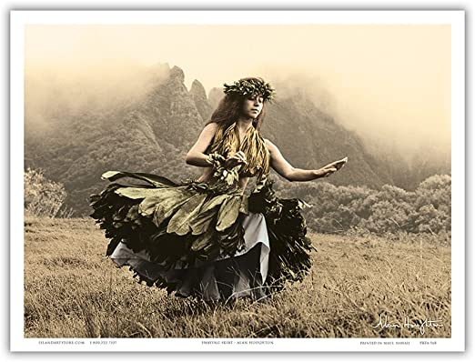 Amazon Com Swaying Skirt Hawaiian Hula Dancer In Ti Leaf Skirt Vintage Sepia Toned Photograph By Alan Houghton C 1960s Master Art Print 9in X 12in Artwork Posters Prints