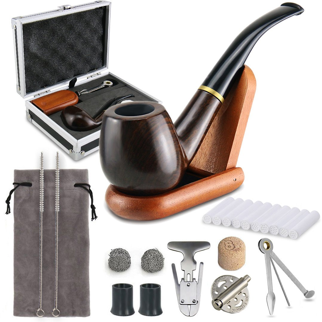 Joyoldelf Tobacco Smoking Pipe Set with Elegant Gift Case Packaging, Wind Cap Cover, Cleaning Brush, Reamer & 3-in-1 Pipe Scraper, Wood Stand Holder and Other Smoking Accessories XX025