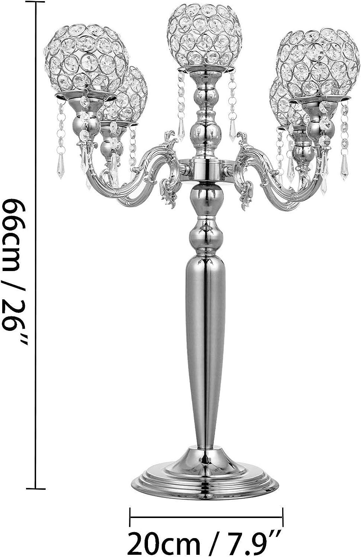 Husuper Candelabro de 5 Brazos Candelero Aluminio Niquelado Alto de 66cm Candelabros Decorativos con Cristal Color Plata Decoraci/ón de La Boda Candelabros de Mesa
