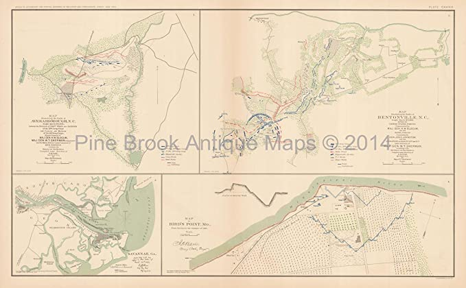 Carolinas Bird\'s Point Missouri Civil War Antique Map 1895 ...