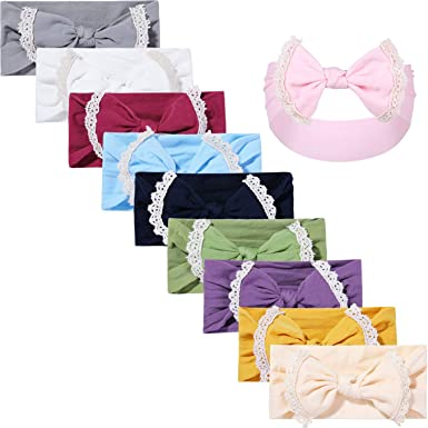 Baby Bows 3 Pack,Floral and Classic Knot Baby Headbands,Elastic Nylon Headwraps Hair Accessories for Newborn Infant Toddler Girls