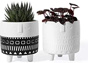 "POTEY Ceramic Face Planter - 4.4"" Indoor Plants Containers Glazed Head Pots 2PCS Black and White 212121"