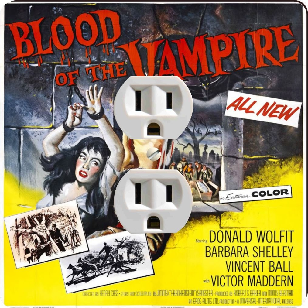 Rikki Knight 3704 Outlet Vintage Movie Posters Art Blood of Vampire 4 Design Outlet Plate